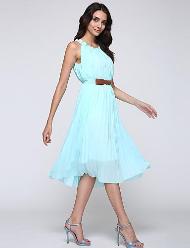 Kadın Tatil Büyük Beden Sokak Şıklığı Şifon Elbise Solid,Kolsuz Yuvarlak Yaka Midi Polyester Yaz Yüksek Bel Mikro-Esnek