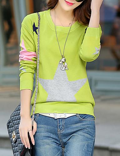 Dame Gade I-byen-tøj Afslappet/Hverdag Normal Pullover Ensfarvet Trykt mønster,Blå Rosa Rød Grå Grøn Rund hals Kortærmet BomuldForår