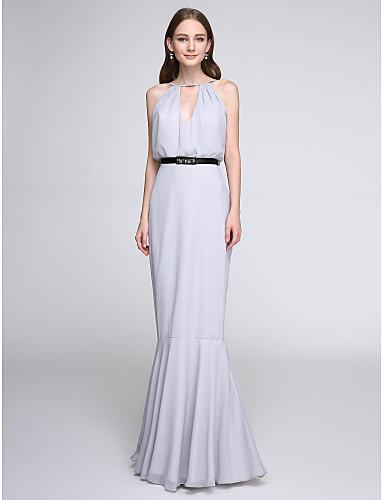 Εφαρμοστό & Εμβαζέ Με εγκοπές Μακρύ Σιφόν Φόρεμα Παρανύμφων με Ζώνη / Κορδέλα με LAN TING BRIDE®