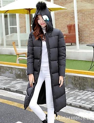 Dames Effen Lang Dons Jas-Uitgaan Casual/Dagelijks Eenvoudig Street chic Wit eendendons Polyester Capuchon Lange mouw