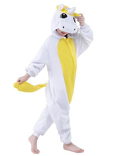 פיג'מות קיגורומי Unicorn פיג'מה אוברול תחפושות פליז ארקטי צהוב / כחול Cosplay ל בגדי ריקוד ילדים הלבשת בעלי חיים קָרִיקָטוּרָה ליל כל