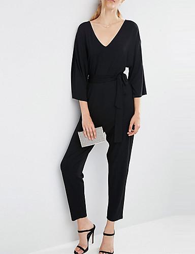 3/4 ærmelængde Kvinders Vintage Jumpsuits Mikroelastisk Polyester