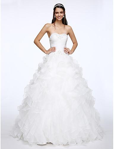 abordables Vestidos de Novia-Salón Escote Corazón Capilla Organza Vestidos de novia hechos a medida con Cuentas / En Cruz por LAN TING BRIDE®