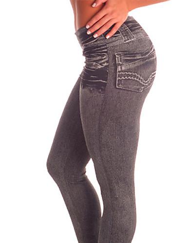 Vrouw Effen kleur Denim Legging,Katoen