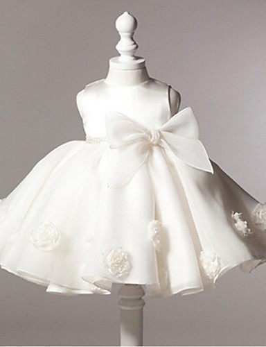 Vestido de baile feminino vestido de flor com joelho - organza manga sem mangas pescoço com flor por minuto