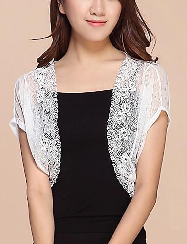 Damen Arbeit Street Schick Kurzarm Mantel / Capes - Solide, Spitze Gitter Ständer