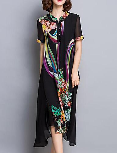 Damen Chiffon Kleid-Ausgehen / Übergröße Retro Druck V-Ausschnitt Asymmetrisch Kurzarm Schwarz Polyester Sommer