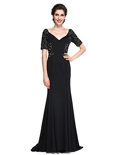 Mermaid / Trumpet V Neck Sweep / Brush Train Jersey Mother of the Bride Dress 617 Beading Ruched by LAN TING BRIDE®