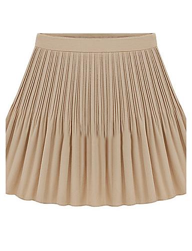 Kvinders Simpel Mini Nederdele Uelastisk Polyester