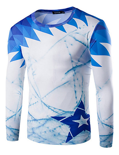 Print-Informeel / Sport-Heren-Katoen-T-shirt-Lange mouw Blauw / Grijs