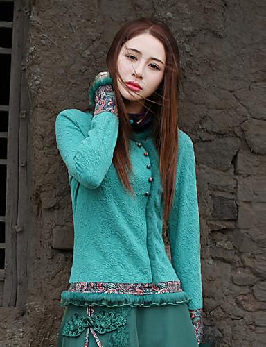 Langærmet Rund hals Medium Damer Paisley Forår Efterår Vintage I-byen-tøj Skjorte,Bomuld Polyester Spandex