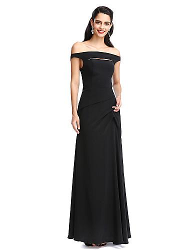 מעטפת \ עמוד עד הריצפה שיפון נשף ערב רישמי שמלה עם קפלים על ידי TS Couture®