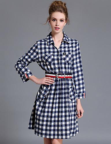 Damer Simple Afslappet/Hverdag Plusstørrelser Skjorte Kjole Ternet,Krave Knælang Bomuld Efterår Alm. taljede Uelastisk Medium