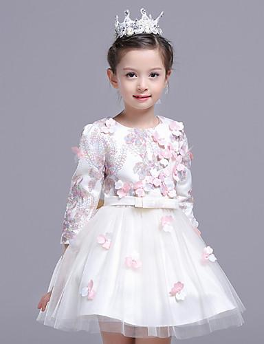 Uma linha de joelho comprimento flor vestido menina - poliéster cetim de tul 3/4 manga comprida jóia pescoço com flor