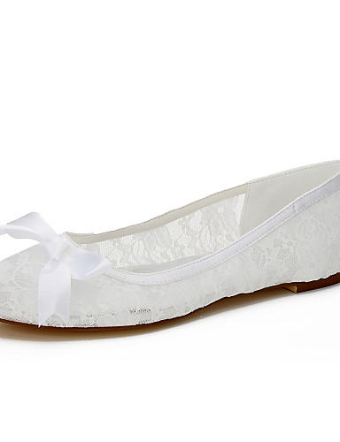 Dame Sko Silke Vår Sommer Flate sko Flat hæl Sløyfe til Bryllup Fest / aften Formell Hvit