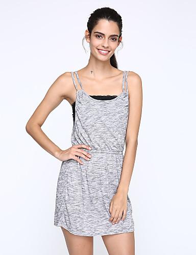 Damen Hülle Kleid-Lässig/Alltäglich Einfach Street Schick Solide Gurt Übers Knie Ärmellos Polyester Sommer Mittlere Hüfthöhe