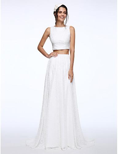 Linha A Decorado com Bijuteria Cauda Escova Renda Vestido de casamento com Botão de LAN TING BRIDE®