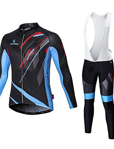 4d4e545c9e9 Malciklo Men s Long Sleeve Cycling Jersey with Bib Tights - White Black Bike  Tights Clothing Suit Breathable 3D Pad Quick Dry Sports Coolmax® Elastane  Lycra ...