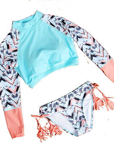 Kvinders Nylon / Polyester / Spandex Stropper Farveblok / Kvaster / Blomstret / Ensfarvet / Snøre Bikini