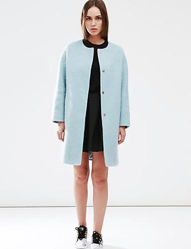 c + imponere kvinder gå ud simpel coatsolid rund hals langærmet vinter blå uld medium