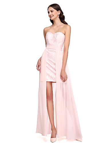 מעטפת \ עמוד לב (סוויטהארט) א-סימטרי שיפון תחרה שמלה לשושבינה  עם סרט על ידי LAN TING BRIDE®
