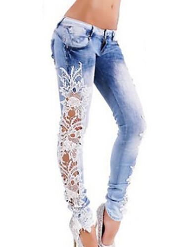 Dame Gatemote Mammaklær Bomull Tynn Jeans Bukser Fargeblokk / Sexy