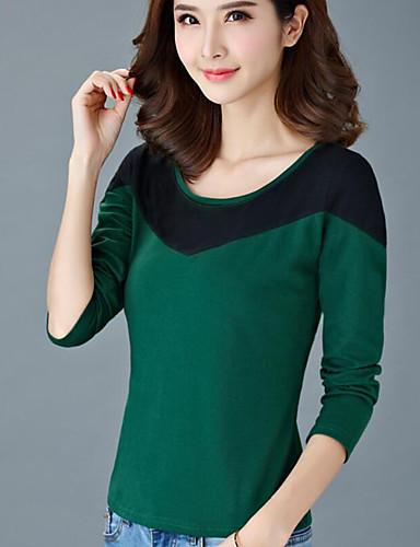 Mulheres Camiseta Estampa Colorida Algodão