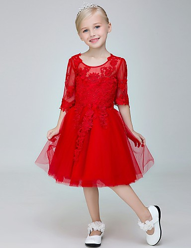 Vestido de menina de flor de joelho com uma linha de joias - meias mangas de tule com gola de jóia com applique