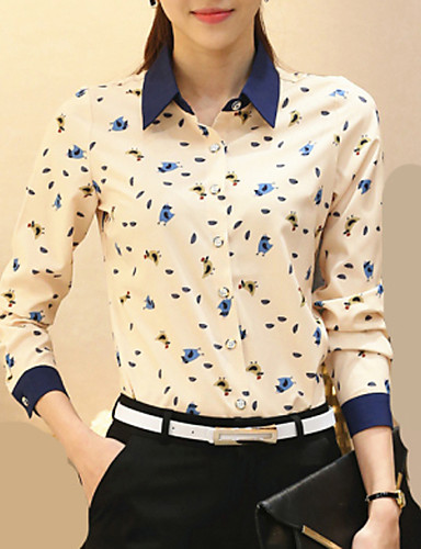 povoljno Majica-Veći konfekcijski brojevi Majica Žene Rad Životinja Kragna košulje Bež