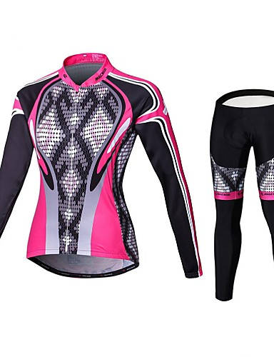 cheap Cycling Clothing-Malciklo Women's Long Sleeve Cycling Jersey with Tights - Pink Geometic British Plus Size Bike Tights Clothing Suit Breathable 3D Pad Quick Dry Sports Coolmax® Elastane Lycra Geometic Mountain Bike