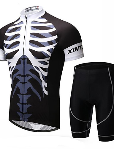 cheap Cycling Clothing-XINTOWN Men's Short Sleeve Cycling Jersey with Shorts - Black Skeleton Bike Shorts Jersey Clothing Suit Breathable 3D Pad Quick Dry Ultraviolet Resistant Sweat-wicking Sports Lycra Skeleton Mountain