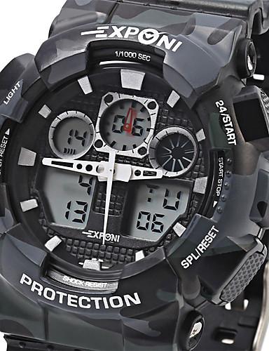 EXPONI Herre Quartz Armbåndsur Militærur Sportsur Alarm Kalender Kronograf Vandafvisende LED Stopur Chok Resistent Dobbelte Tidszoner LCD