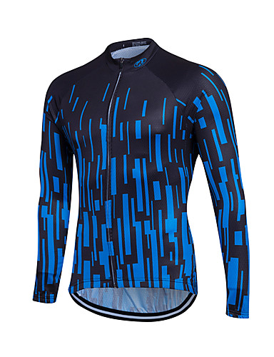 cheap Cycling Clothing-Fastcute Men's Women's Unisex Long Sleeve Cycling Jersey - White Blue Gradient Plus Size Bike Sweatshirt Jersey Top Thermal / Warm Breathable Quick Dry Sports Winter Polyester Coolmax® 100% Polyester