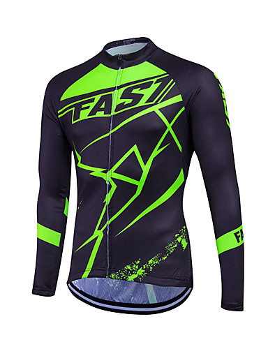 cheap Cycling Clothing-Fastcute Men's Women's Unisex Long Sleeve Cycling Jersey - Light Green Dark Green Plus Size Bike Sweatshirt Jersey Top Thermal / Warm Breathable Quick Dry Sports Winter Polyester Coolmax® 100