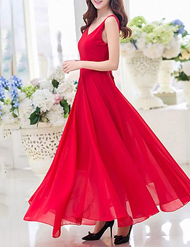 Women's Backless Sexy/Casual/Print/Party/Work/Maxi Elegant Sleeveless Maxi Dress (Chiffon/Polyester)