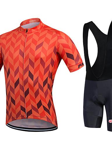 cheap Cycling Clothing-Men's Women's Short Sleeve Cycling Jersey with Bib Shorts Plus Size Bike Bib Shorts Jersey Bib Tights Breathable 3D Pad Quick Dry Sweat-wicking Sports Polyester Lycra Herringbone Mountain Bike MTB