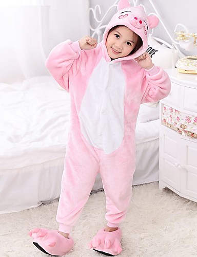 8d11302fac8b Kid s Kigurumi Pajamas Piggy   Pig Onesie Pajamas Polar Fleece Pink Cosplay  For Boys and Girls Animal Sleepwear Cartoon Festival   Holiday Costumes