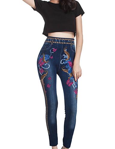 Vrouw Effen kleur Print Gerafeld Denim Legging,Katoen Spandex