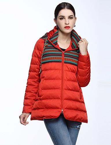Langærmet Normal Dunjakke Dame Frakke,Simpel Casual/hverdag Ensfarvet-Bomuld / Polyester Bomuld Asymetrisk Rød