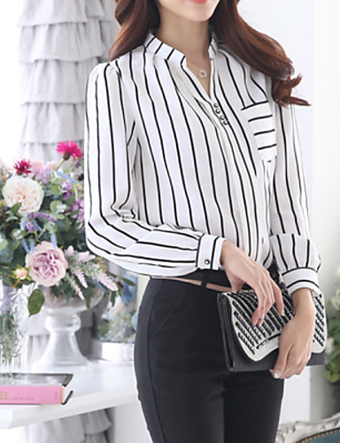 c96c58c1e38 Women s Plus Size Blouse - Striped Shirt Collar White XL   Fall   Fine  Stripe