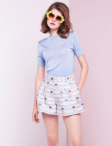 Damer Simple I-byen-tøj Kort Cardigan Ensfarvet,Rund hals Kortærmet Polyester Efterår Medium Mikroelastisk