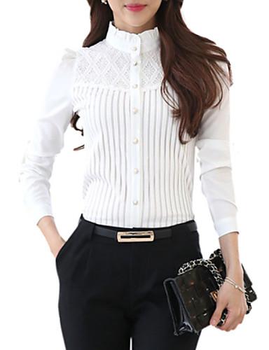 baratos Blusas Femininas-Mulheres Tamanhos Grandes Camisa Social Renda, Sólido Colarinho Chinês Branco / Primavera / Belas Stripe