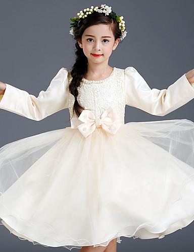 A-line knælængde blomsterpige kjole - bomuld satin tyl langsmykke juvel med bue (r) blonder perle detaljer