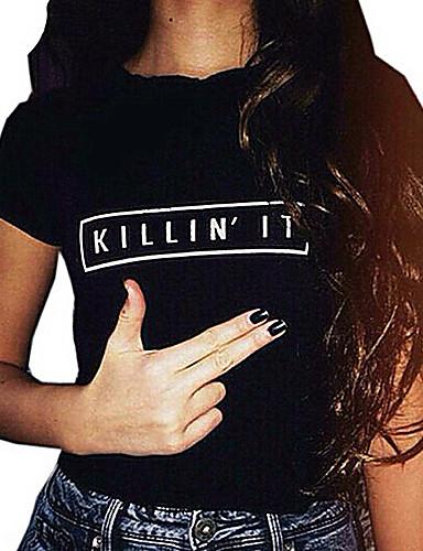 Mulheres Camiseta Letra Algodão
