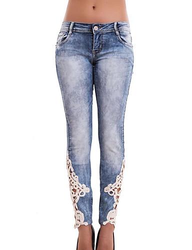 Dame Bomull Jeans Bukser Fargeblokk