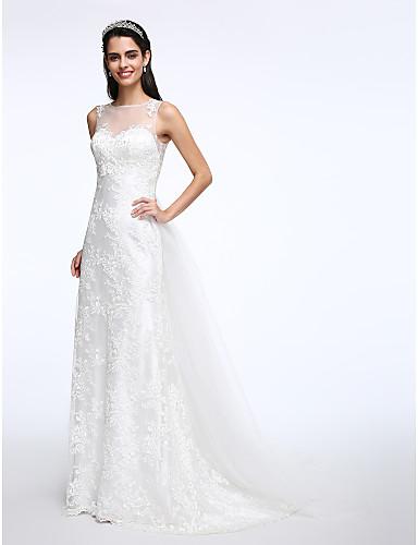 A-라인 쥬얼리 코트 트레인 레이스 튤 웨딩 드레스 와 아플리케 버튼 으로 LAN TING BRIDE®