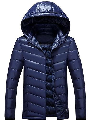 コート レギュラー ダウン メンズ,カジュアル/普段着 ソリッド ポリエステル ホワイトダックダウン-シンプル 長袖 フード付き