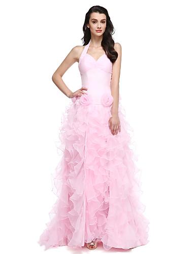 Krinolina Na vezanje oko vrata Srednji šlep Organza Formalna večer Haljina s Cvijet Nabrano Prednji izrez po TS Couture®