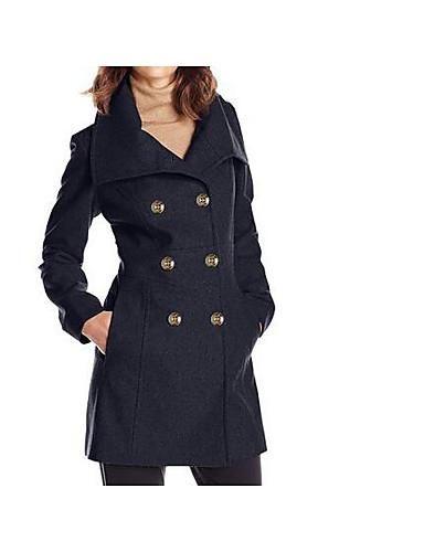 女性 カジュアル/普段着 冬 ソリッド コート,シンプル ブラック / グレイ 特殊毛皮タイプ 長袖 ミディアム