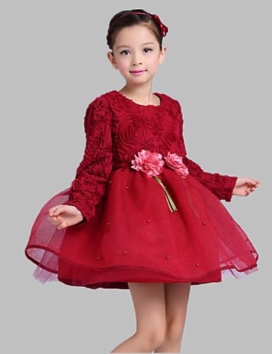 Corte en A Corta / Mini Vestido de Niña Florista - Satén / Tul Manga Larga Joya con Bordados / Flor por